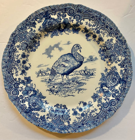 Antique Turkey Plate Blue Transferware Staffordshire China Thanksgiving Dinner Plate Tom Turkey  Ridgway P V Staffordshire
