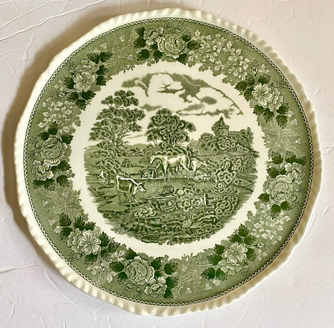 Green Transferware  Chop Plate Platter Grazing Horses & Cows in Meadow w/ Rose Thistle Clover Border