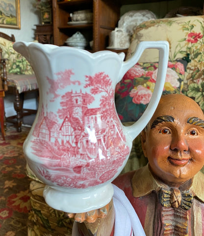 Red Transferware Creamer Pitcher Scenic Plate Church Children Horses Roses
