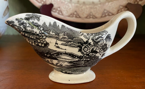 Black Transferware Sauce Pitcher Creamer Tonquin Swans and Roses
