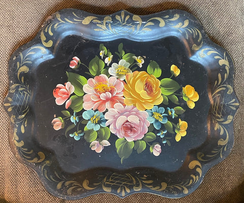 Vintage Scalloped Black Tole Tray Toleware Hand Painted Blue Starflower Roses Buttercups