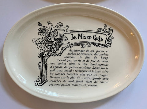 Le Mixed Gril French Advertising Black Transferware Platter Gien w/ Cow / Bovine