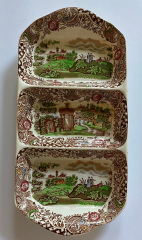 Vintage Brown Transferware Chinoiserie Divided Relish Tray Strolling Couple Gazebo Geometric Border Landscape