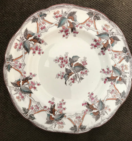 Antique Wedgwood Pearl Transferware Plate Trellis & Vine Muted Autumn Flowers
