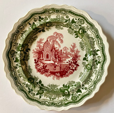 Adams Antique Early Staffordshire Two Color Red & Green Transferware Plate Circa 1830-35