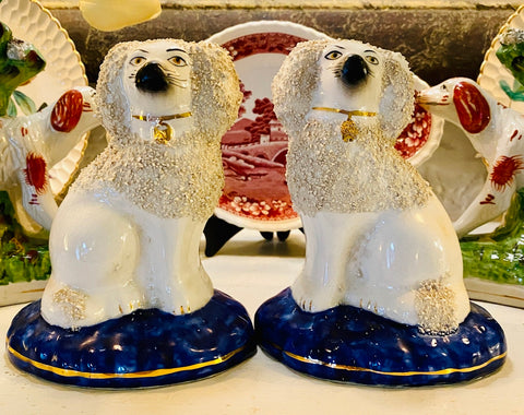 Pair Antique Staffordshire Confetti Dog Figurines on Blue Bases