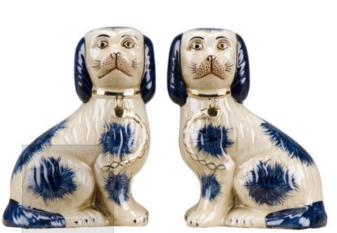 Pair Blue Spots Staffordshire Spaniel Dog Figurines King Charles