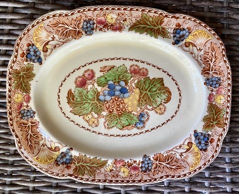 "12"" Wood & Sons Brown Polychrome English Transferware Platter Flowers & Grapes"