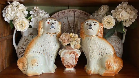 "Huge 14"" Pair of English Staffordshire Spaniel Wally Dogs Glass Eyes"