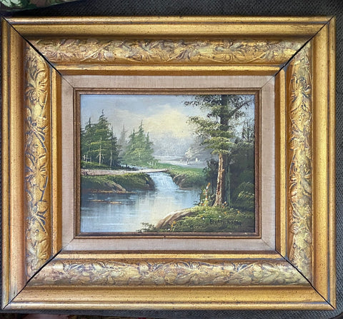 Vintage Waterfall Stream & Trees Landscape Oil Painting in Gold Leaf Wood Frame