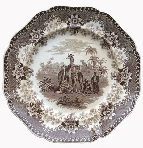 Circa 1836 Antique Brown Transferware Ridgway Giraffe Plate Staffordshire