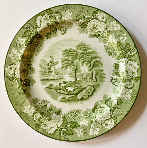 Grazing Cattle / Cows rare Green Transferware Plate w/ Peonies Roses Border