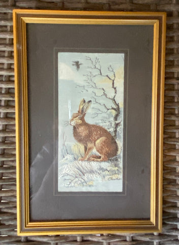 Copy of Vintage English Woven Silk Hare / Rabbit Matted & Gold Frame