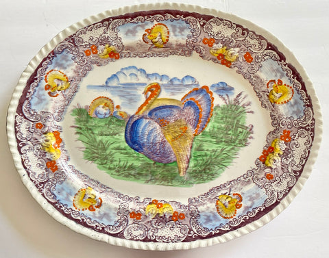 R & M Antique Purple Polychrome Transferware Staffordshire Thanksgiving Tom Turkey Platter