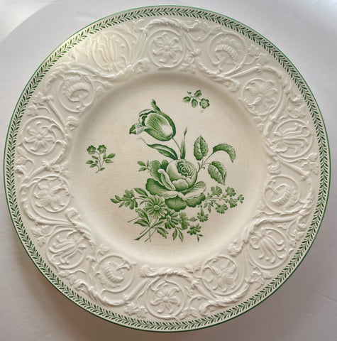Antique Wedgwood Green Transferware Tulip & Rose Plate Embossed Flower Border