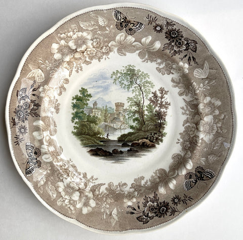 #2 RARE Brown Staffordshire Fisherman Castle FOUR Color Transferware Enoch Wood Butterfly Border Plate 1830