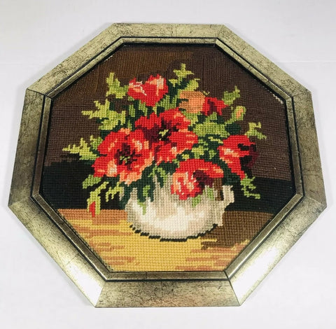 Vintage Octagonal Framed Needlepoint Res Poppy Poppies Picture