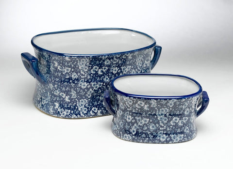 Medium Blue & White Chintz Calico Floral Handled Footbath Planter Ice Cooler