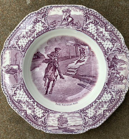 Purple Colonial Times Transferware Plate Paul Revere's Ride American History Historical Staffordshire