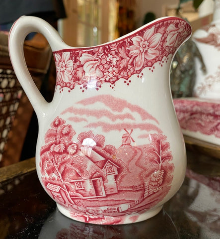Red Transferware Pitcher Lg Creamer w/ Cottage & windmill / floral border