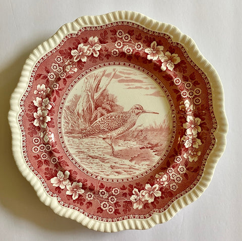 RARE Vintage Spode Copeland Tower Red Transferware Plate Game Bird Woodcock No. 2