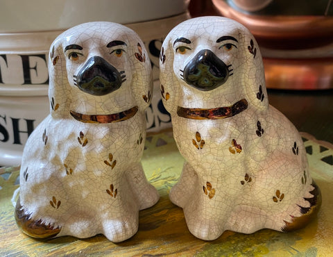 "Antique 4"" White & Gold Luster English Staffordshire King Cavalier Spaniel Dog Figurines"