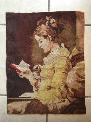 French Victorian Girl Reading Book Wool Needlepoint Petit Point Picture (for pillow or Framing)