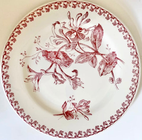 Gien French Red Transferware Plate Botanical Leaves Flowers