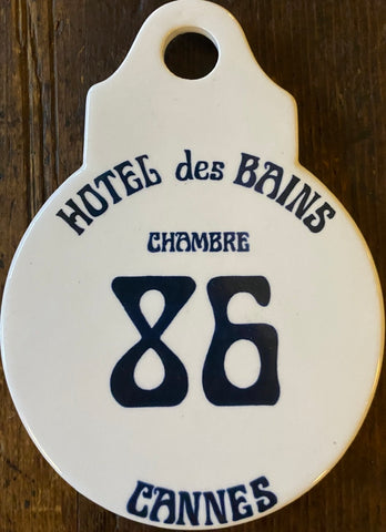 Deauville France Vintage Advertising French Hotel des Bains Room #86 Door Tag