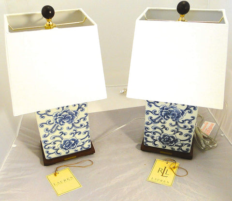 Pair of Brand New Ralph Lauren Chinoiserie Blue & White Lamps w/ Square Shades & Finials