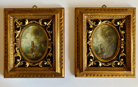 Pair of Vintage Pastoral Landscape Oil Paintings Ornately Framed under Bubble Glass