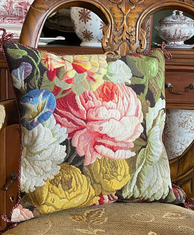 Blue Morning Glory Gold Roses Pink Peony Floral Needlepoint Petit Point Pink Green Brown Pillow Cover