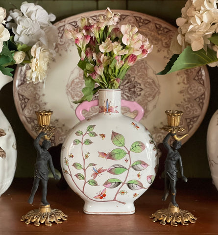 19C Chinoiserie Famille Rose Dual Handled Moon Flask Pillow Vase Dragonflies Butterflies Vines