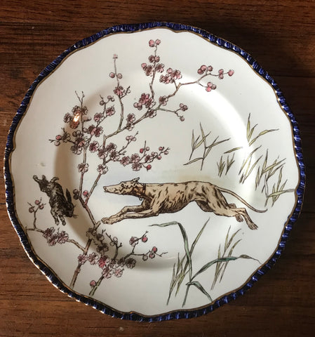 Antique Royal  Doulton Plate French Dog Rabbits Hunt Scene La Chasse