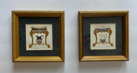 Pair Blue & White Matted & Gold Framed Wash Pitcher & Basin Bath Print