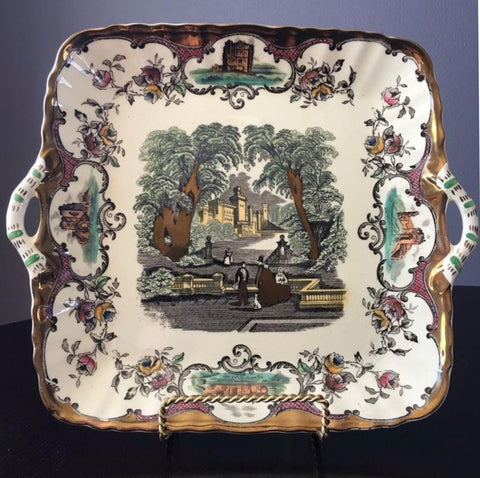 Masons Vista Leeds Polychrome Black Transferware Gold/Copper Lustre Square Handled Plate Scenic Castles Estates