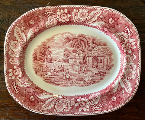 Vintage Red Transferware Platter Pigs Chickens Cows Woodland Farm Cottage Roses