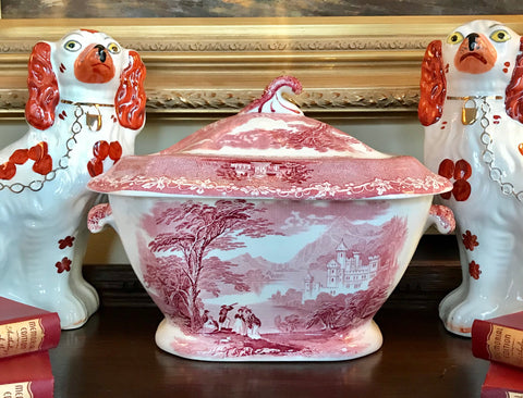 Royal Staffordshire Red Transferware Large Soup Tureen Jenny Lind