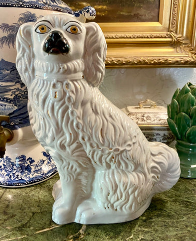 "12"" Salt Glaze Pearlware Antique King Charles Spaniel English Staffordshire Mantle Dog"