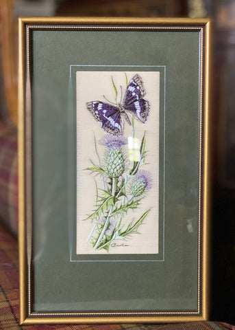 Vintage Scottish Thistle & Purple Emperor Butterfly Woven in Silk Matted in Wood Gold Frame Made in England