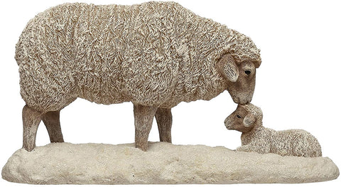 Lrg Sheep & Lamb Decorative Tabletop Figurine French / English Country Decor