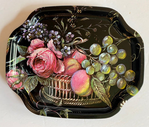 Small Vintage English Tole Tray Pink Roses Grapes Fruit in Basket
