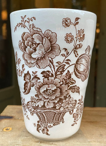 Vintage Brown English Transferware Tumbler Glass Cup Charlotte Basket of Roses