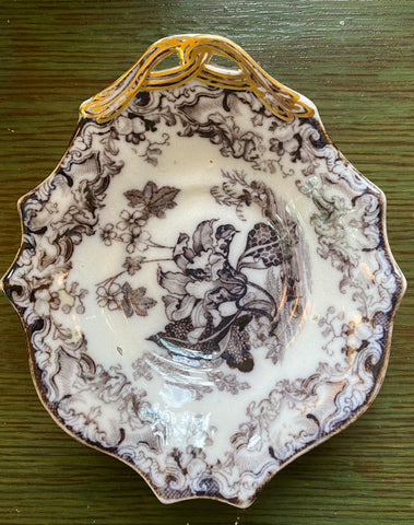 Antique 19thC Staffordshire Black Mulberry Transferware Pearlware Pickle Dish Lily