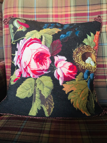 New Spring Bird Nest, Blue Berries & Red Roses Floral Needlepoint Petit Point Pink Green Brown Pillow Cover