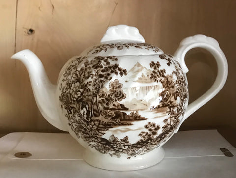 Peaceful Summer Brown Toile Transferware Teapot Cascading Waterfall