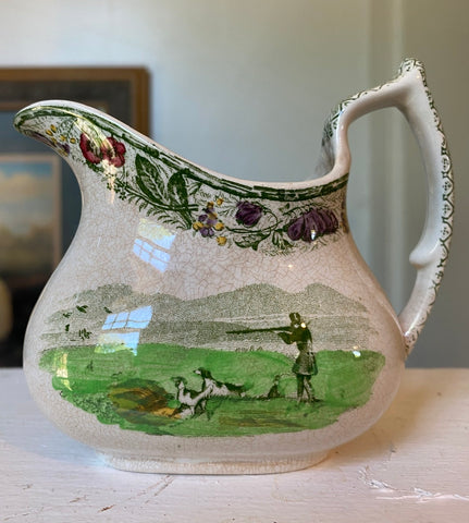 RARE Green Polychrome Transferware  Creamer Pitcher English Hunt Scene Spode Copeland Field Sports