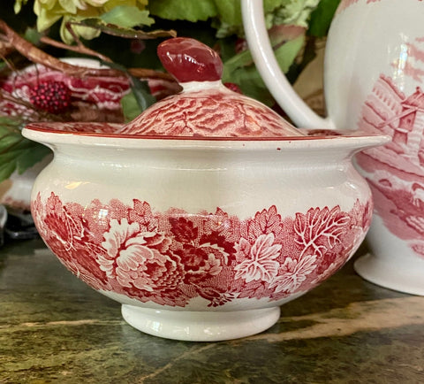 Red Transfer Ware Covered Sugar Bowl Peonies Farm English Scenery