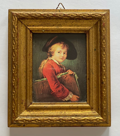 Florentine Gold Framed Print Renaissance Child in Hat & Red Coat Italy