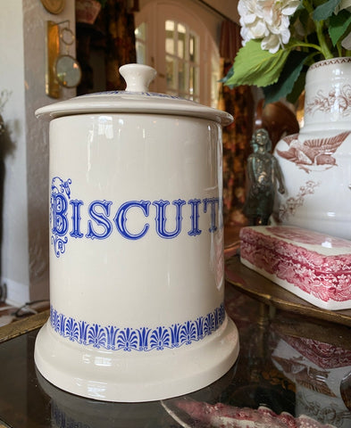 Large Vintage English Blue Whiteware Transferware Advertising BISCUITS Canister Jar
